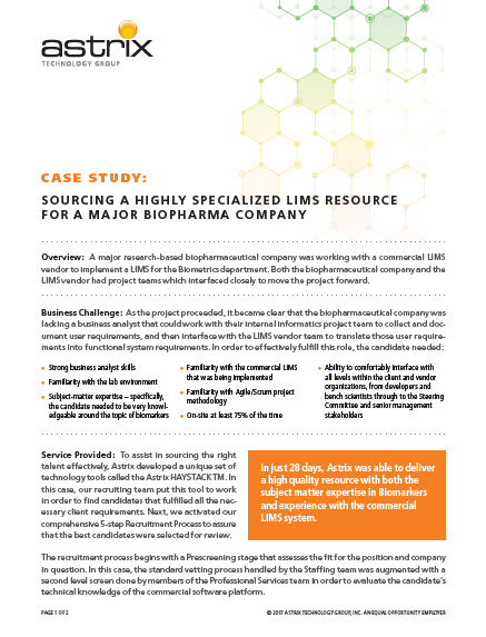 Case Study - Scientific and Technical Staffing