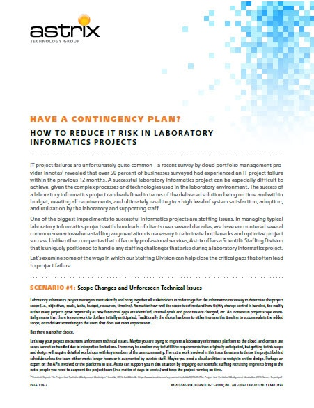 Astrix White Paper - How to Reduce Risk in Lab Informatics Projects