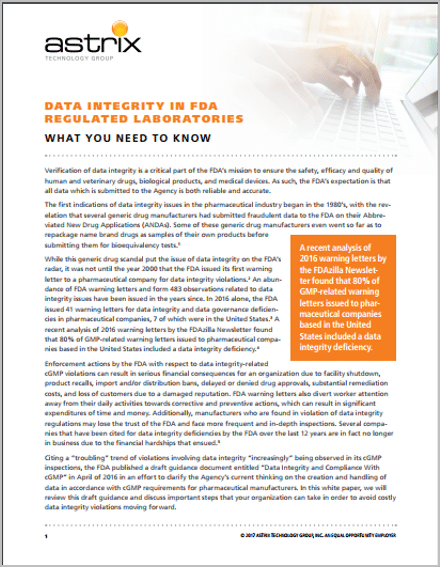 White Paper: Data Integrity In Regulated Laboratories