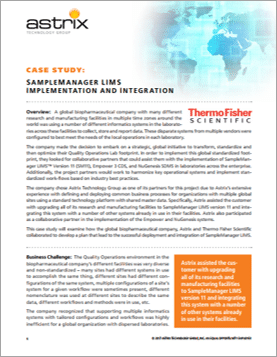 Case Study - SampleManager LIMS Implementation and Integration