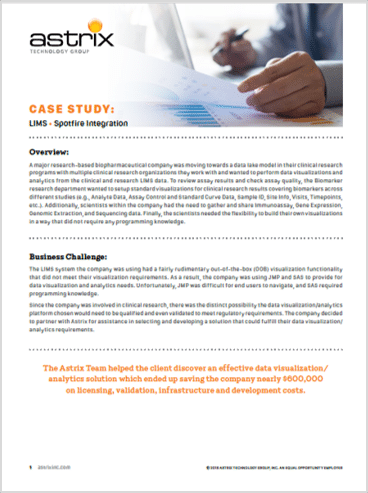 Case Study:  LIMS Spotfire Integration