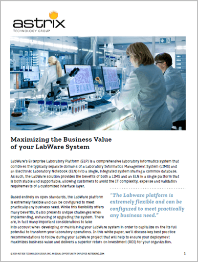 White Paper - Maximizing the Business Value of your Labware System