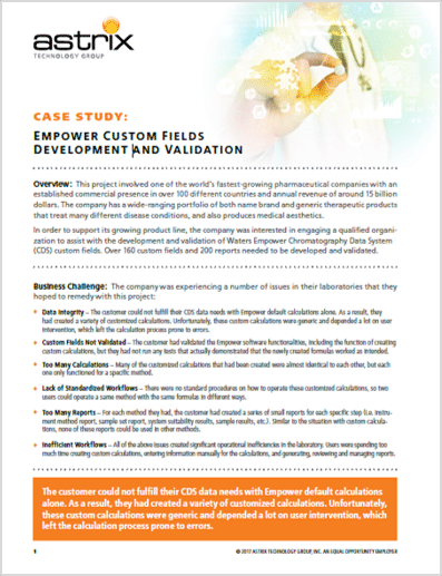 LIMS Case Study - Empower Custom Fields Development and Implementation