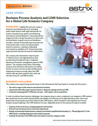 Case Study - Business Process Analysis and LIMS Selection