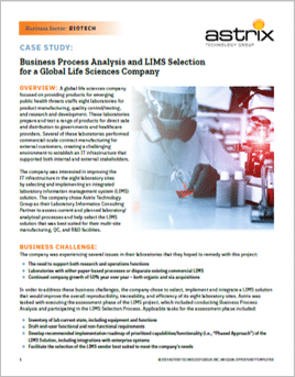 Case Study - LIMS Selection and Business Process Analysis