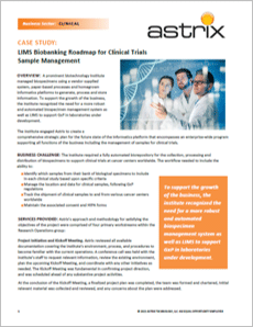 CASE STUDY: LIMS Biobanking Roadmap for Clinical Trials Sample Management