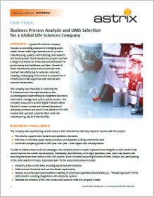 Case Study - Business Process Analysis and LIMS Selection for a Global Life Sciences Company
