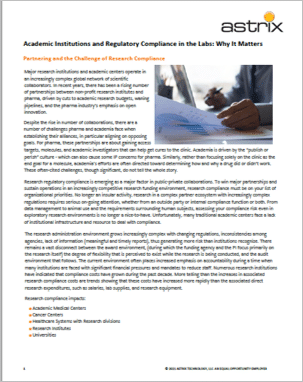 Case Study - Academic Institutions and Regulatory Compliance in the Labs: Why It Matters
