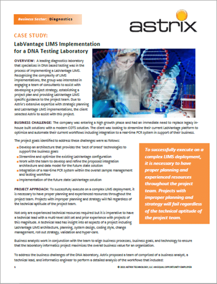 LabVantage LIMS Implementation  for a DNA Testing Laboratory