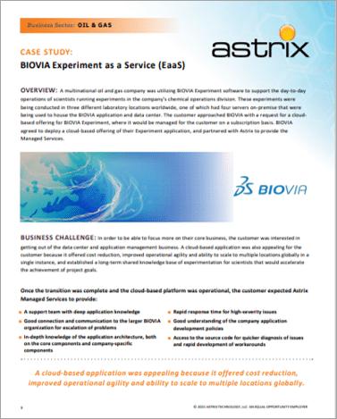CASE STUDY: BIOVIA Experiment as a Service (EaaS)