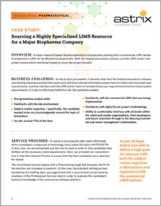 Sourcing a Highly Specialized LIMS Resource
