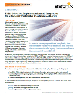 EDMS Selection, Implementation and Integration for a Regional Wastewater Treatment Authority