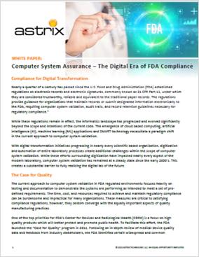 White Paper - Computer System Assurance – The Digital Era of FDA Compliance