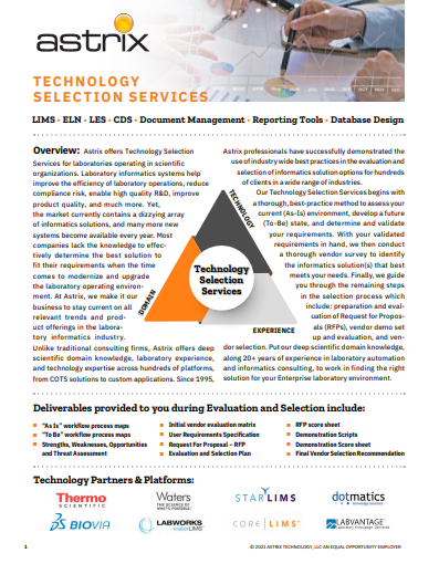 Lab Technology Selection Services